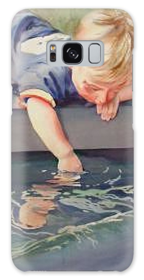 Boy Playing In Water Galaxy Case featuring the painting Curious by Marlene Gremillion