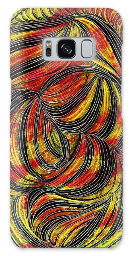 Curve Galaxy S8 Case featuring the drawing Curved Lines 2 by Sarah Loft