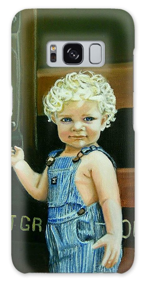 Train Galaxy S8 Case featuring the painting Cutie By The Train by Janet Guss