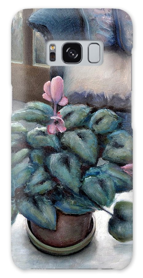 Cyclamen Galaxy S8 Case featuring the painting Cyclamen And Wicker by Michelle Calkins