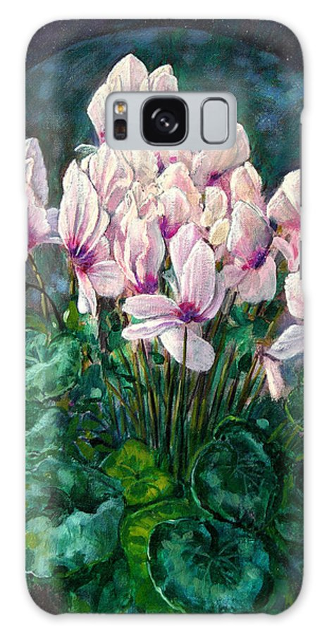 Cyclamen Flowers Galaxy S8 Case featuring the painting Cyclamen In Orbit by John Lautermilch