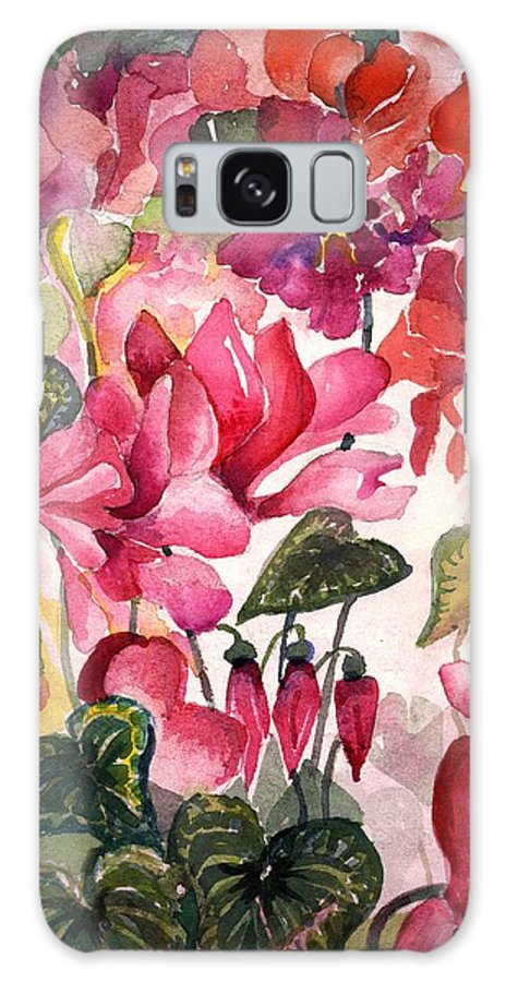 Cyclamen Galaxy S8 Case featuring the painting Cyclamen by Mindy Newman