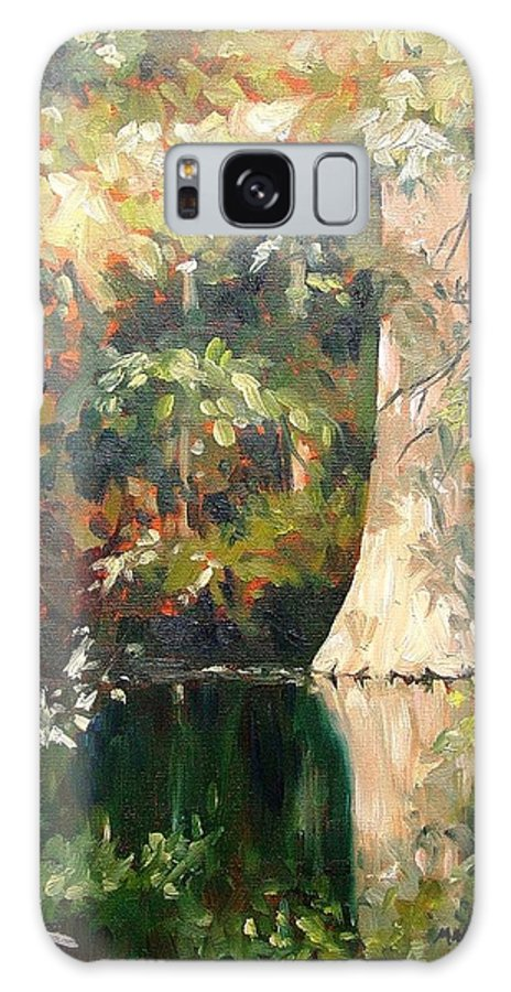 Landscape Galaxy S8 Case featuring the painting Cypress In Sun by Marlene Gremillion
