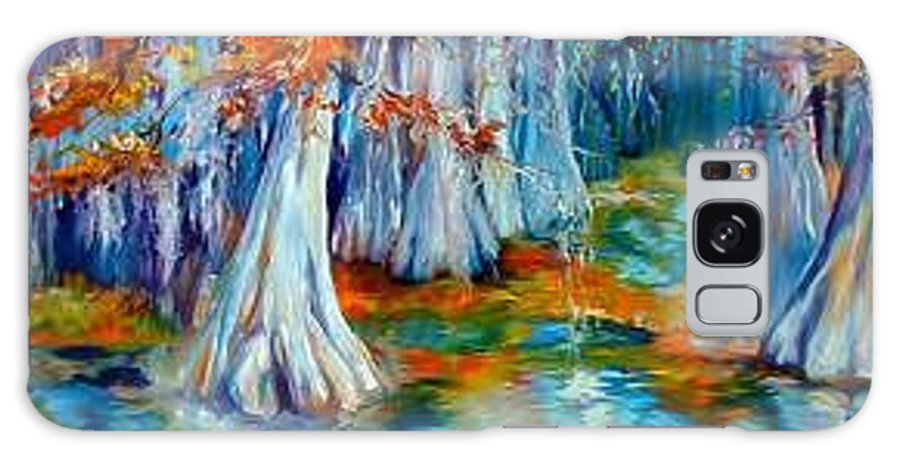 Tree Galaxy S8 Case featuring the painting Cypress Trees Along The Bayou by Marcia Baldwin