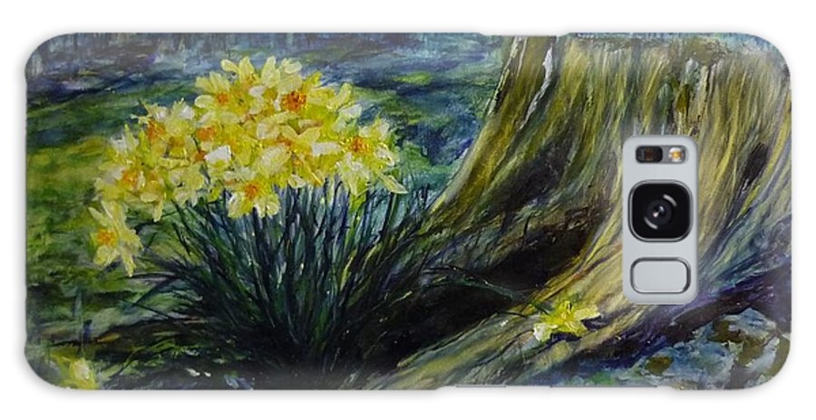 Spring Galaxy S8 Case featuring the painting Daffodils And Tree Stump by Lizzy Forrester