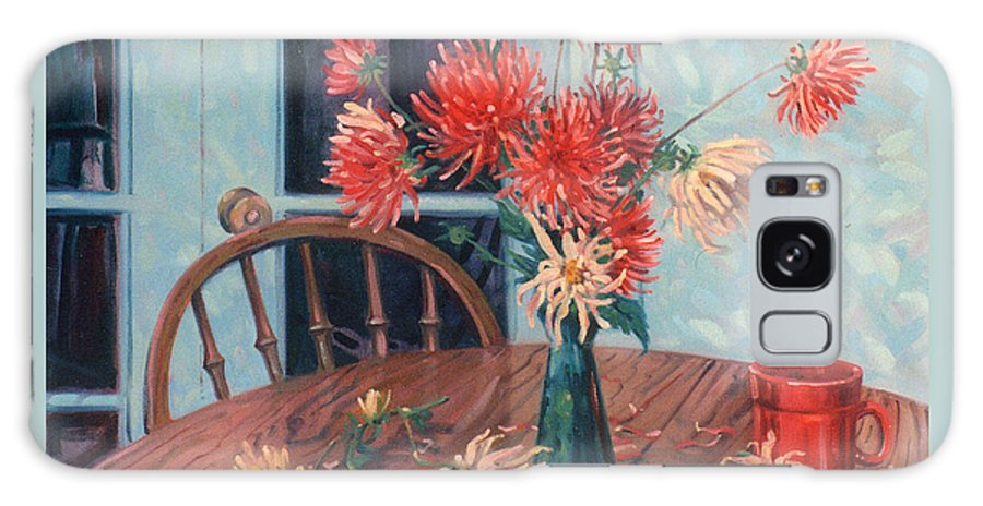 Still Life Galaxy Case featuring the painting Dahlias With Red Cup by Donald Maier