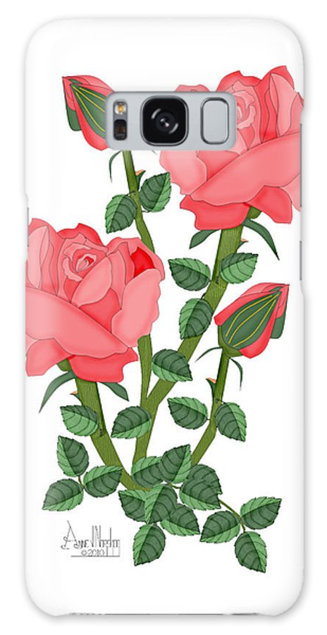 Pink Roses Galaxy S8 Case featuring the painting Daiquiri Roses In January 2010 by Anne Norskog