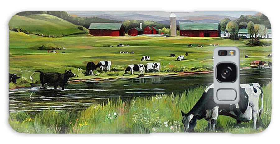 Landscape Galaxy Case featuring the painting Dairy Farm Dream by Nancy Griswold