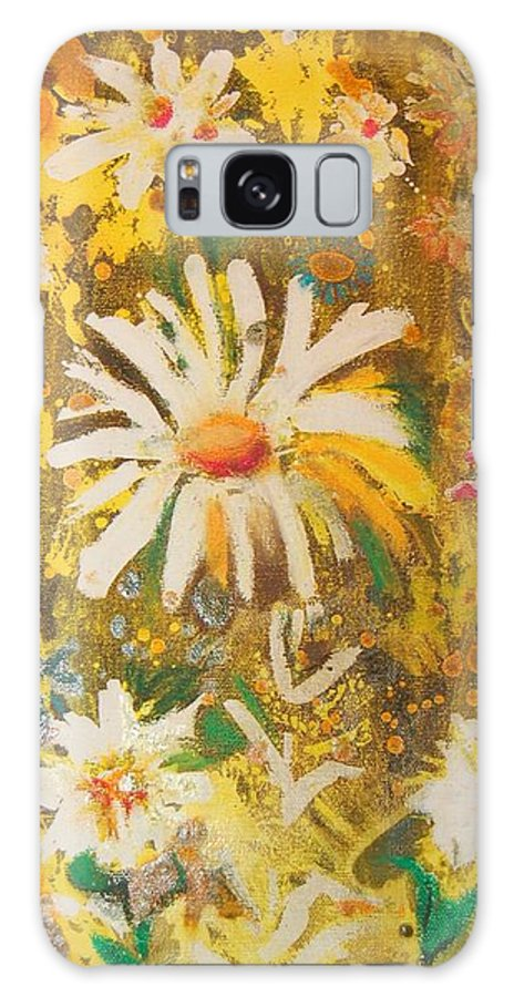Floral Abstract Galaxy S8 Case featuring the painting Daisies In The Wind Vii by Henny Dagenais