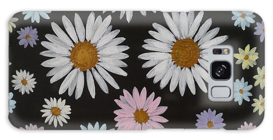 Daisy Galaxy S8 Case featuring the painting Daisies On Black by Monika Shepherdson