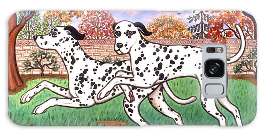 Dog Galaxy S8 Case featuring the painting Dalmatians Two by Linda Mears