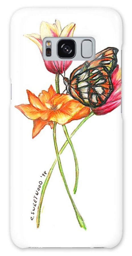 Flowers Galaxy S8 Case featuring the drawing Dancers by Carol Sweetwood