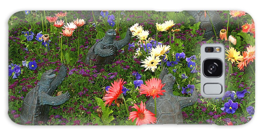 Turtles Statute Flowers Plants Joyous Daisy Gerber Daisy Green Photography Photograph Art Digital Galaxy S8 Case featuring the photograph Dancing Turtles by Shari Jardina