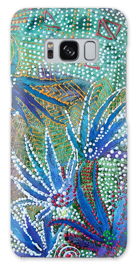 Mixed Media Galaxy Case featuring the painting Dancing Weeds by Vijay Sharon Govender