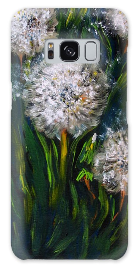 Flower Art Galaxy Case featuring the painting Dandelions Acrylic Painting by Natalja Picugina