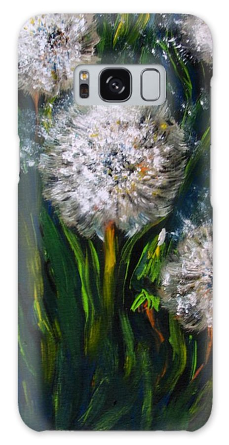 Flower Art Galaxy S8 Case featuring the painting Dandelions Acrylic Painting by Natalja Picugina