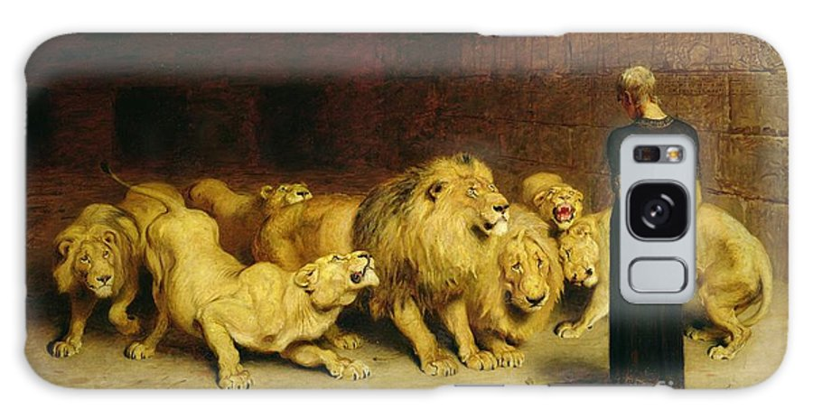 Daniel In The Lions' Den Galaxy Case featuring the painting Daniel In The Lions Den by Briton Riviere