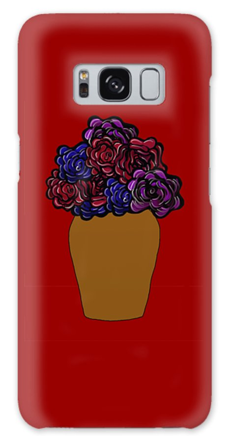 Dark Roses Galaxy S8 Case featuring the painting Dark Rose Folk Art by Priscilla Wolfe