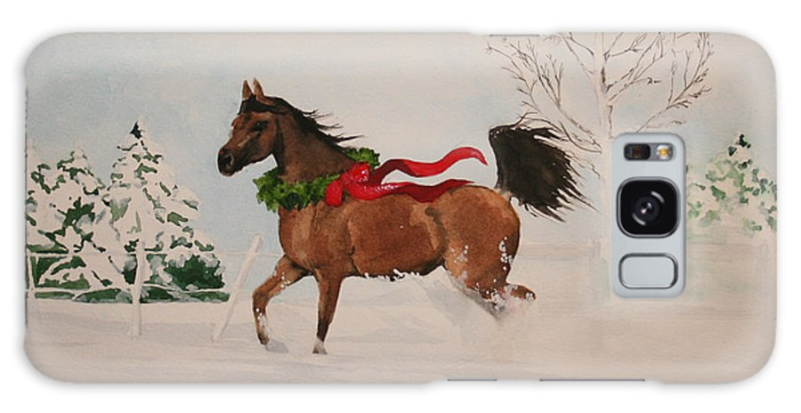 Horse Galaxy S8 Case featuring the painting Dashing Thru The Snow by Jean Blackmer
