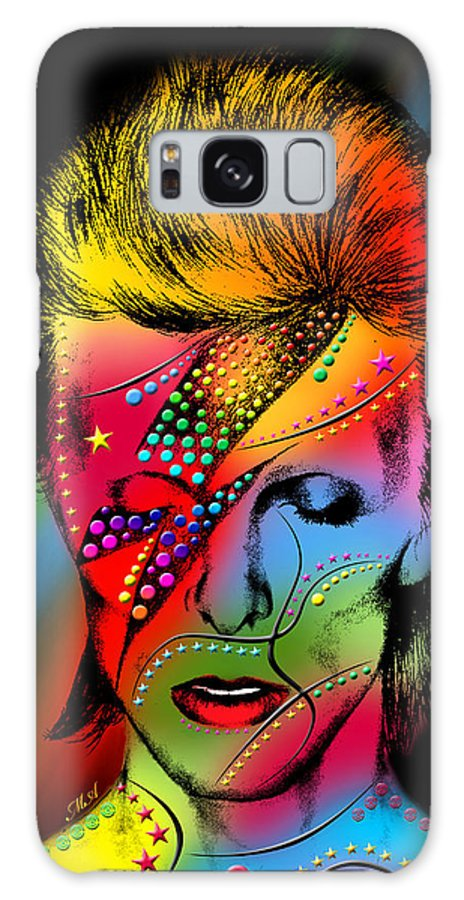 David Bowie Galaxy Case featuring the digital art David Bowie by Mark Ashkenazi