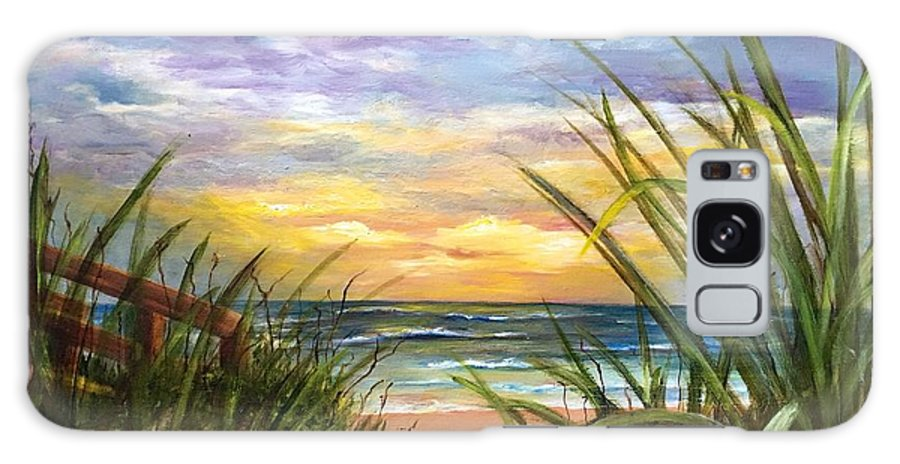 Seascape Galaxy Case featuring the painting Dawn is Breaking by Susan Dehlinger