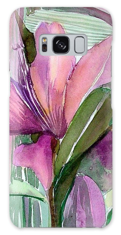 Flower Galaxy S8 Case featuring the painting Day Lily Pink by Mindy Newman