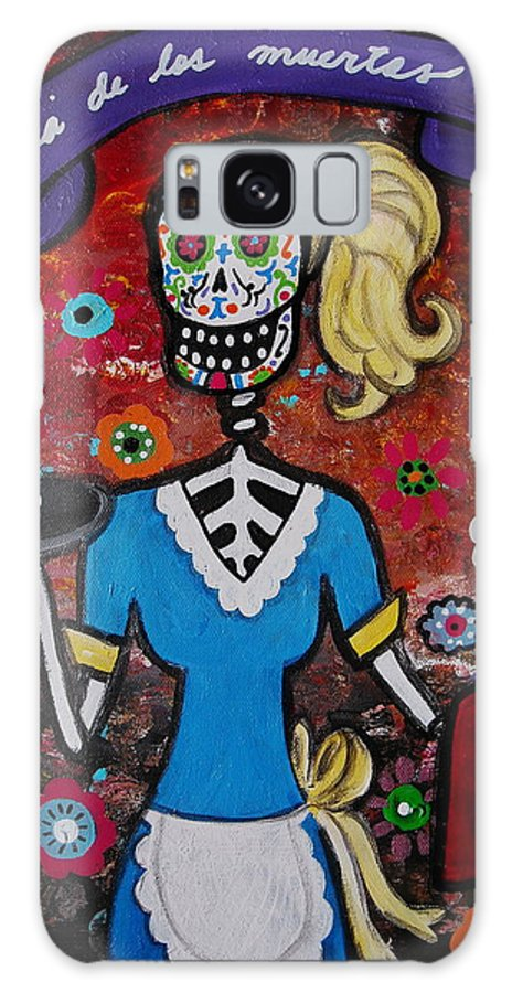 Feliz Galaxy S8 Case featuring the painting Day Of The Dead Waitress by Pristine Cartera Turkus