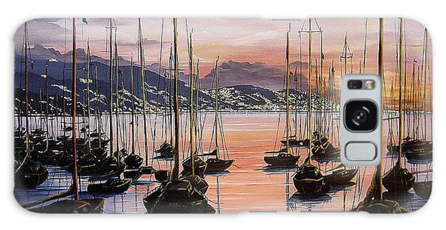Seascape Painting Yacht Painting Harbour Painting Port Of Spain Trinidad And Tobago Painting Caribbean Painting Tropical Seascape Yachts  Painting Boats Dawn Breaking Greeting Card Painting Galaxy Case featuring the painting Daybreak by Karin Dawn Kelshall- Best