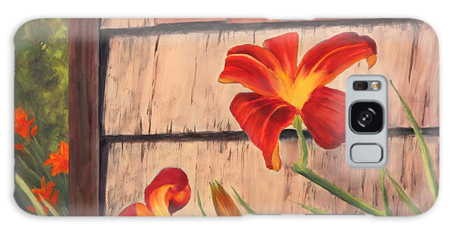 Daylily Galaxy S8 Case featuring the painting Daylilies At The Shed by Elaine Farmer