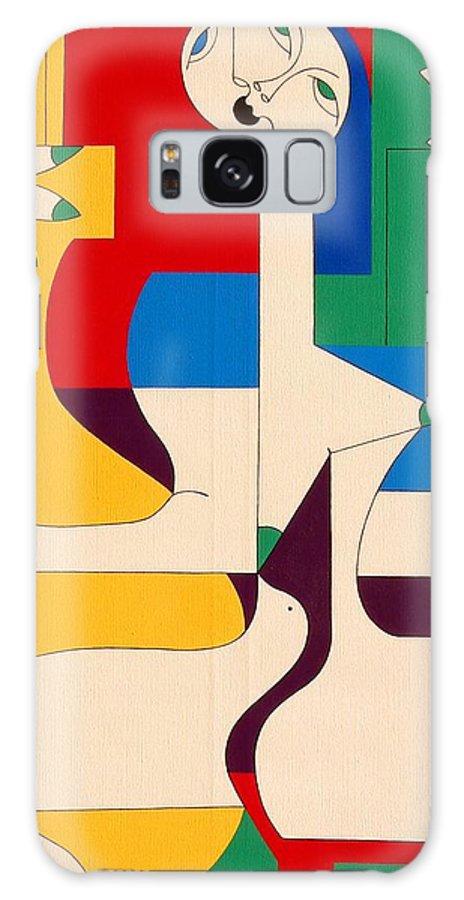 Women Birds Music Guitar Flower Humor Voice Galaxy Case featuring the painting De Sopraan by Hildegarde Handsaeme