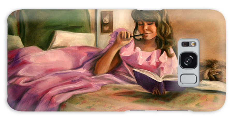 Girl Galaxy S8 Case featuring the painting Dear Diary by Maryn Crawford