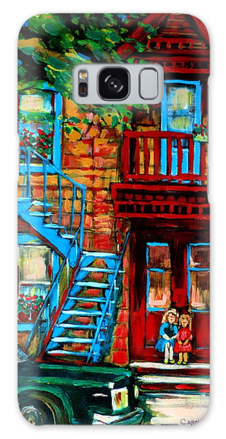 Montreal Streetscenes Galaxy S8 Case featuring the painting Debullion Street Neighbors by Carole Spandau