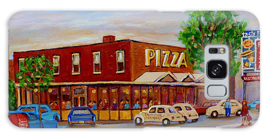 Tasty Food Pizza Galaxy S8 Case featuring the painting Decarie Tasty Food Pizza by Carole Spandau