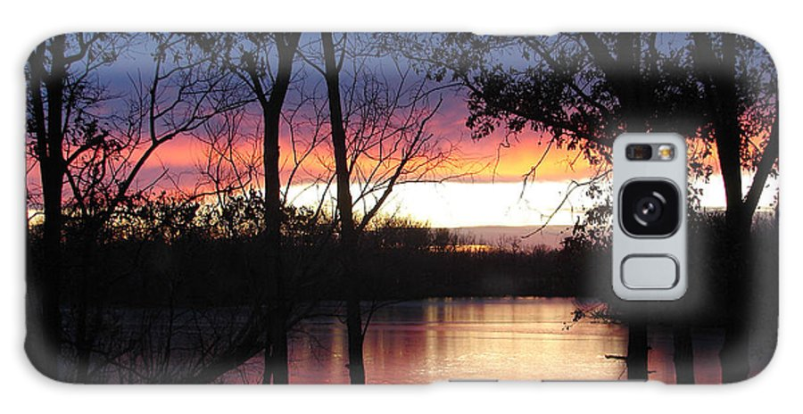 Red Gold Blue Lake Trees Galaxy Case featuring the photograph December Sunset by Luciana Seymour