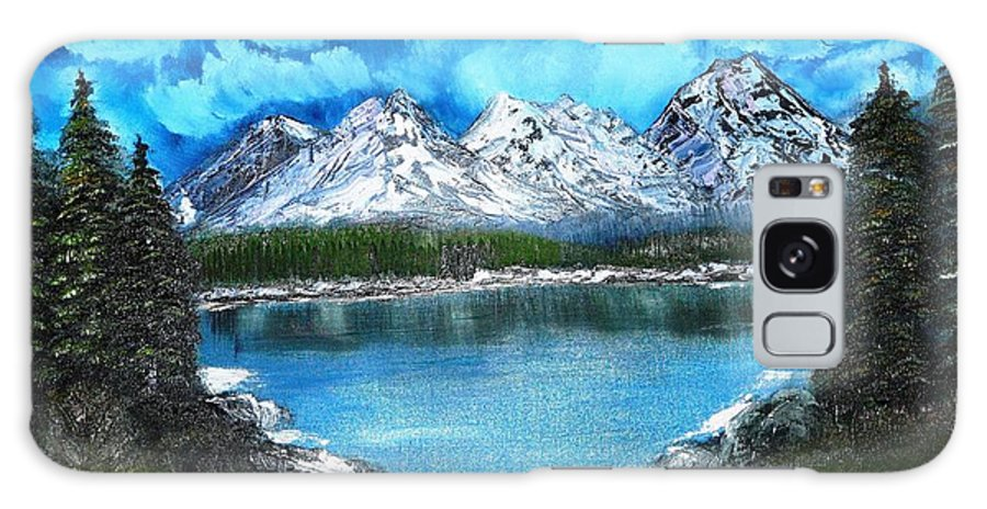 Landscape Galaxy Case featuring the painting Deep Mountain Lake by Valerie Ornstein