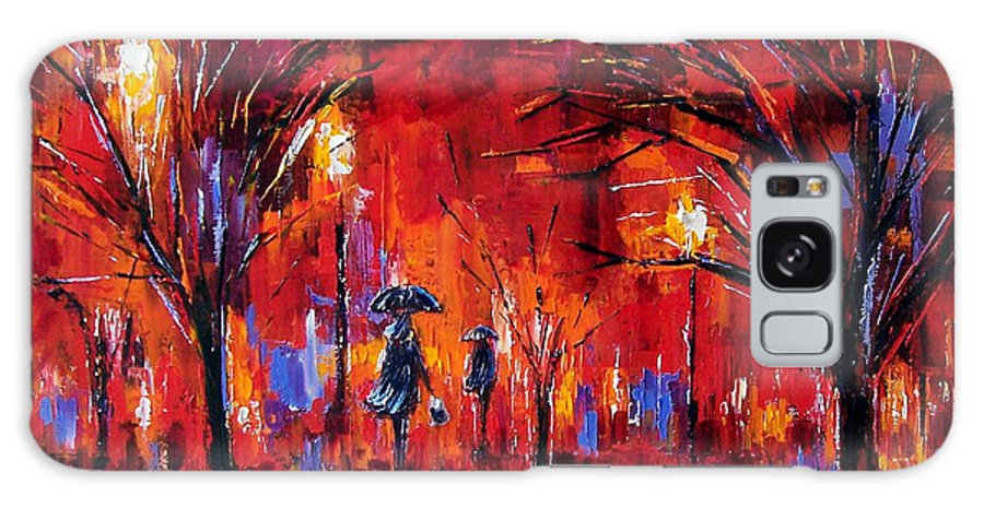 Umbrellas Galaxy S8 Case featuring the painting Deep Red by Debra Hurd