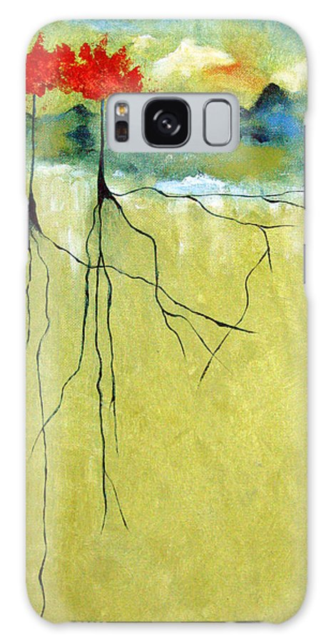 Abstract Galaxy Case featuring the painting Deep Roots by Ruth Palmer