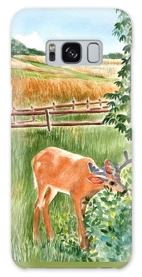 Deer Galaxy S8 Case featuring the painting Deer Eating Leaves by Judy Swerlick