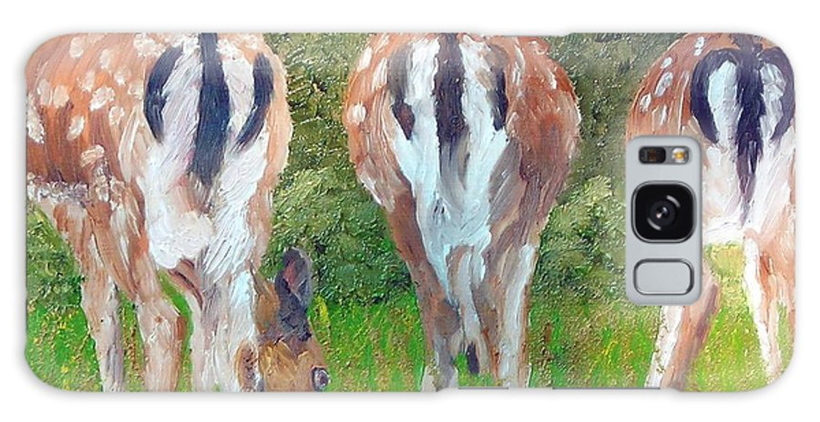 Deer Galaxy Case featuring the painting Deer Moon by Michael Lee