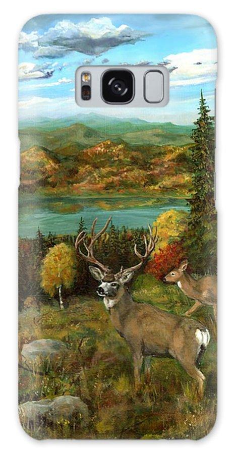 Deers Galaxy S8 Case featuring the painting Deer Season by Mona Davis