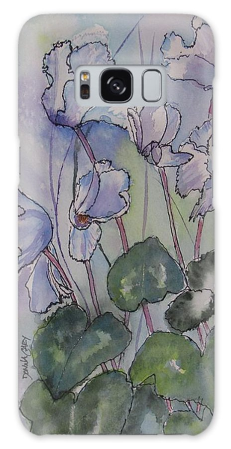 Cyclamen Galaxy S8 Case featuring the painting Delicate Cyclamen by Donna Cary