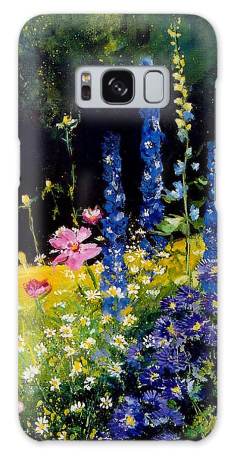 Poppies Galaxy S8 Case featuring the painting Delphiniums by Pol Ledent
