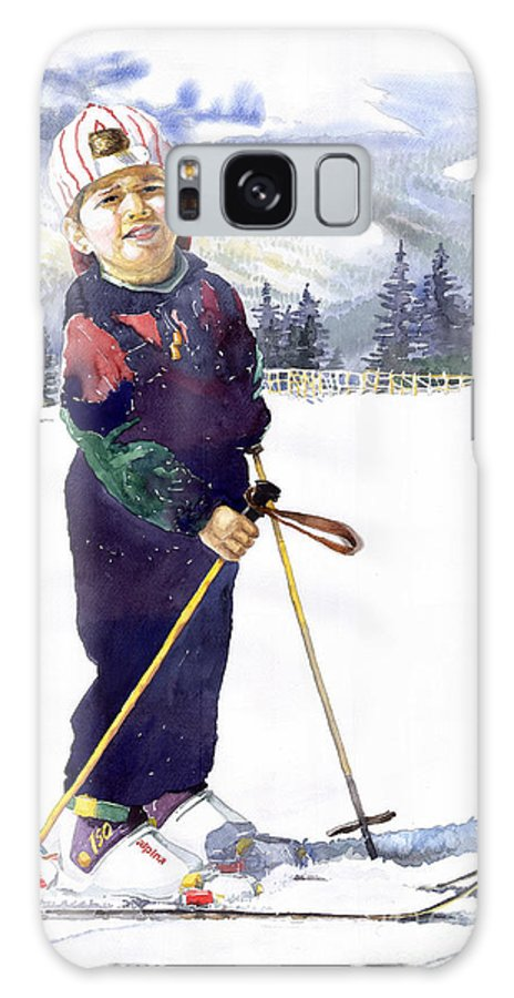 Watercolor Watercolour Figurative Ski Children Portret Realism Galaxy Case featuring the painting Denis 03 by Yuriy Shevchuk