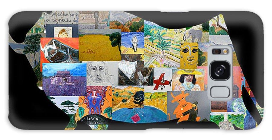 Juxtaposition Galaxy Case featuring the digital art Des Bleus Des Jaunes by Coco de la garrigue