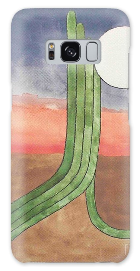 Desert Galaxy Case featuring the painting Desert Moon by LeAnne Sowa