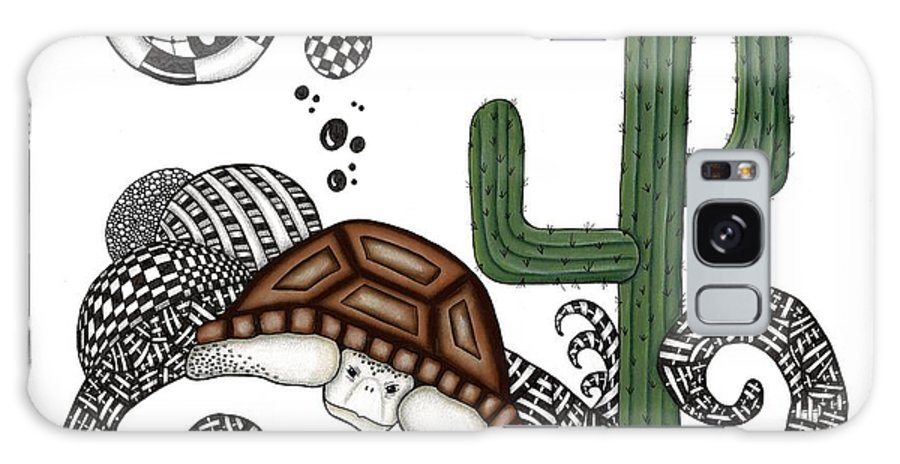 Desert Galaxy S8 Case featuring the drawing The Desert Tortoise by Cathy Nestroyl