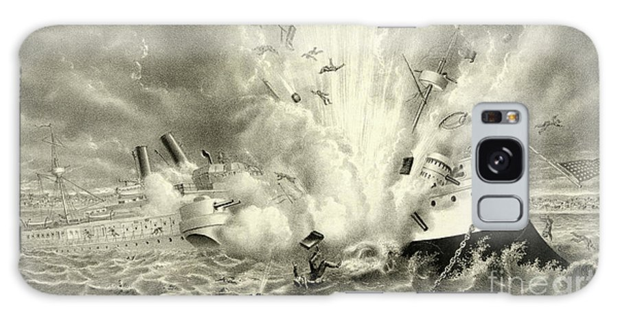 Destruction Of The Us Battleship Maine Galaxy S8 Case featuring the drawing Destruction Of The Us Battleship Maine, 15th February, 1898 by American School