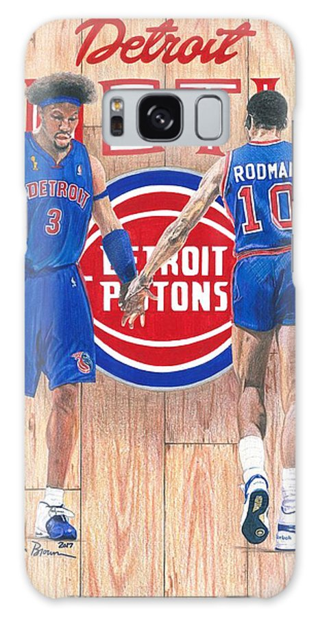 Detroit Pistons Galaxy S8 Case featuring the drawing Detroit Hustle - Ben Wallace And Dennis Rodman by Chris Brown
