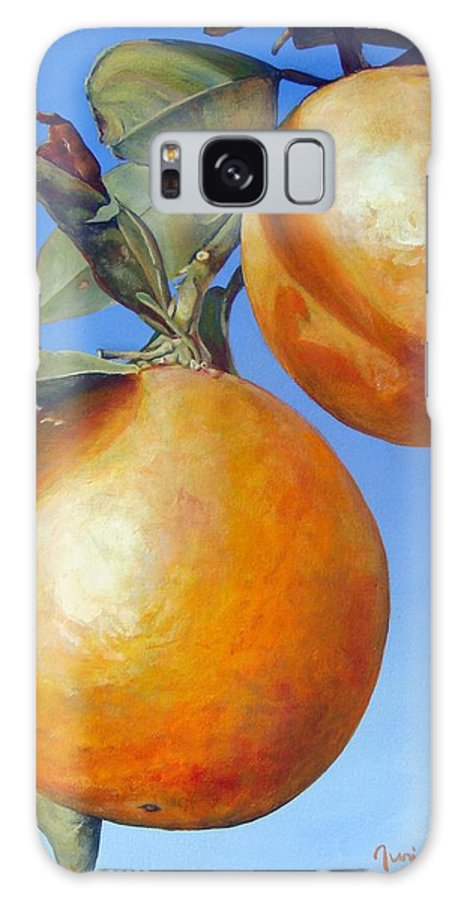 Floral Painting Galaxy Case featuring the painting Deux Oranges by Muriel Dolemieux