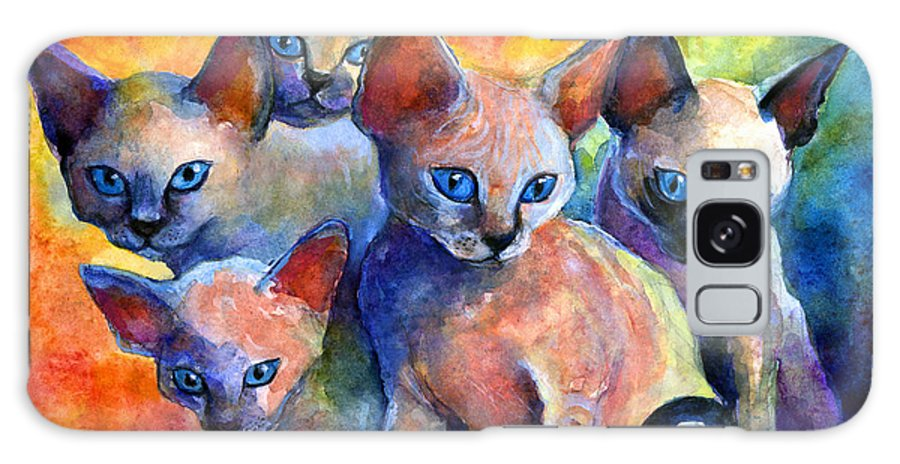Kittens Galaxy S8 Case featuring the painting Devon Rex Kitten Cats by Svetlana Novikova
